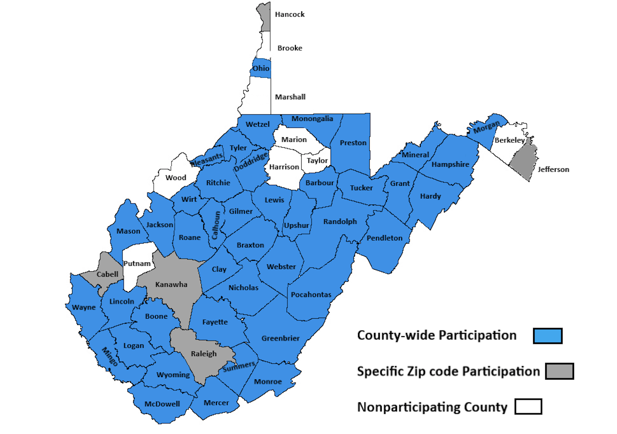 West Virginia map with participating counties